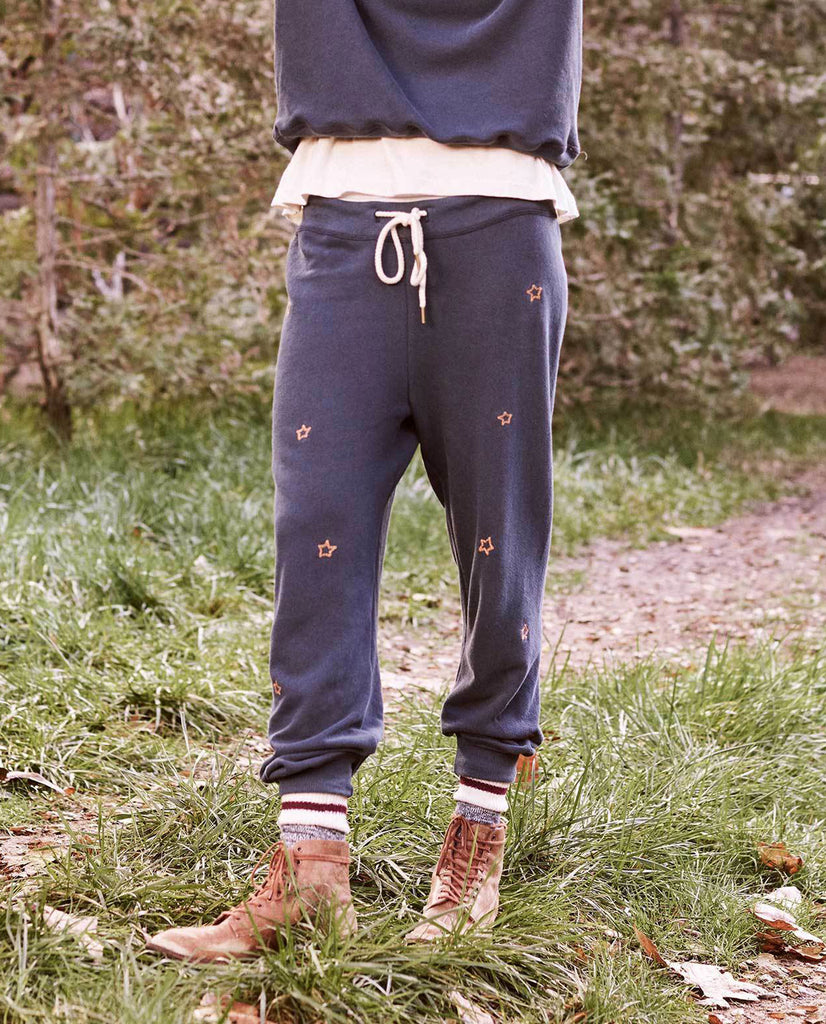The Cropped Sweatpant. -- Navy with Star Embroidery
