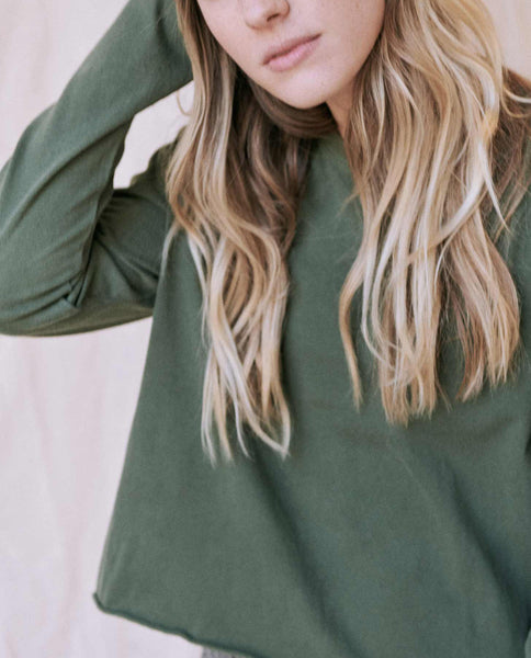 The Long Sleeve Crop Tee. -- Pine