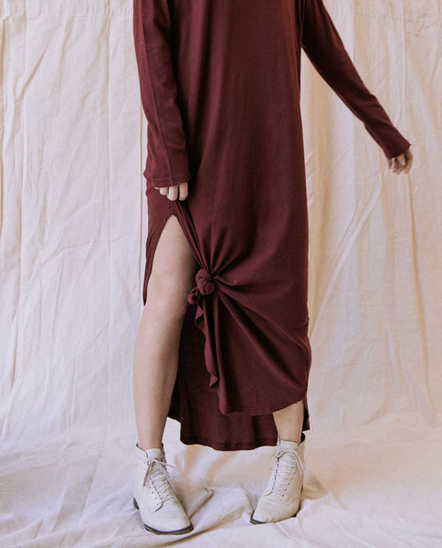 The Long Sleeve Knotted Tee Dress. -- Vintage Red