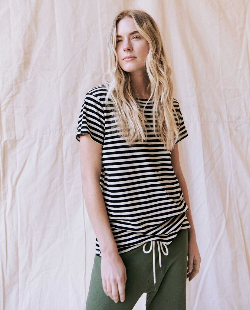 The Slim Tee. -- Black Skinny Stripe