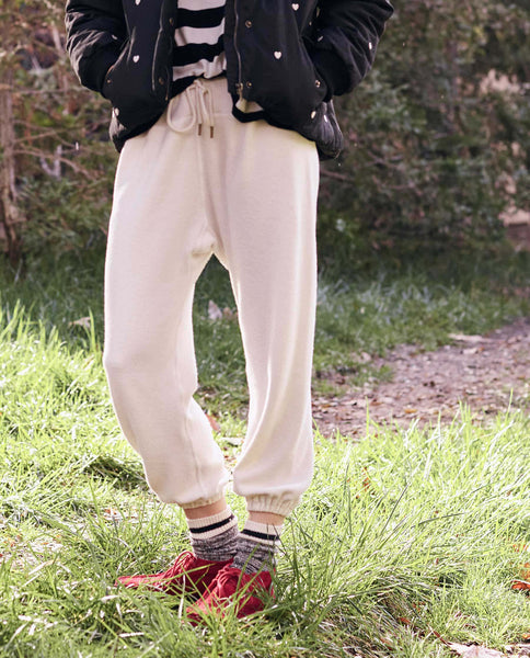 The Warm Up Sweatpant. -- Washed White Sherpa