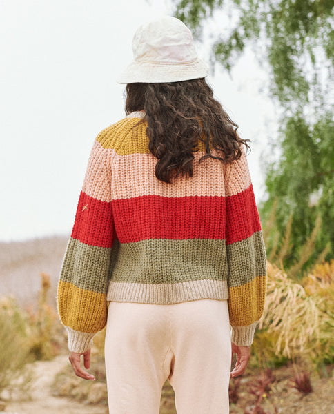 The Bold Striped Sophomore Cardigan. -- Carousel Stripe