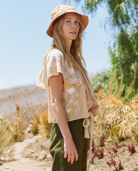 The Dale Top. -- Wheat with Trellis Floral Embroidery