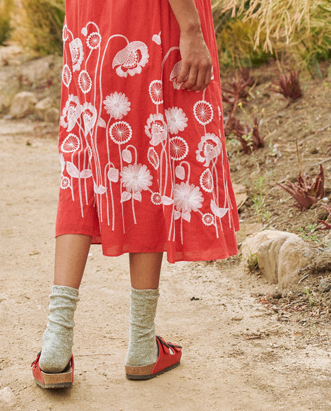 The Derby Dress. -- Cherry Red with Trellis Floral Embroidery