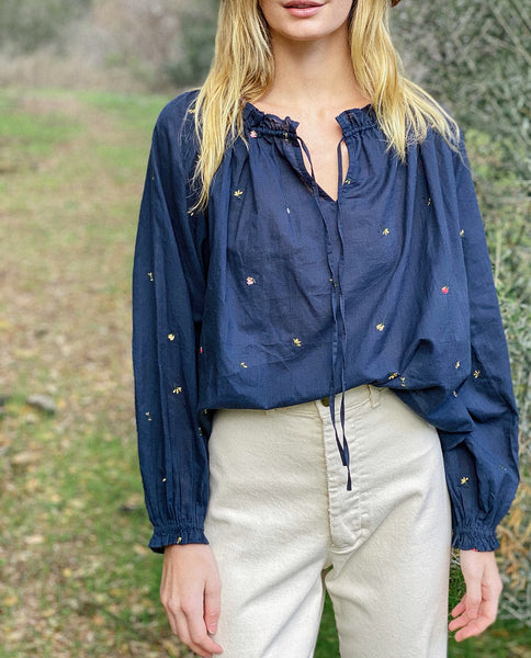 The Posey Top. -- Navy with Tossed Floral Embroidery
