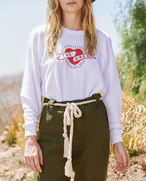 The Shrunken Sweatshirt. -- True White with Mini Heart Graphic