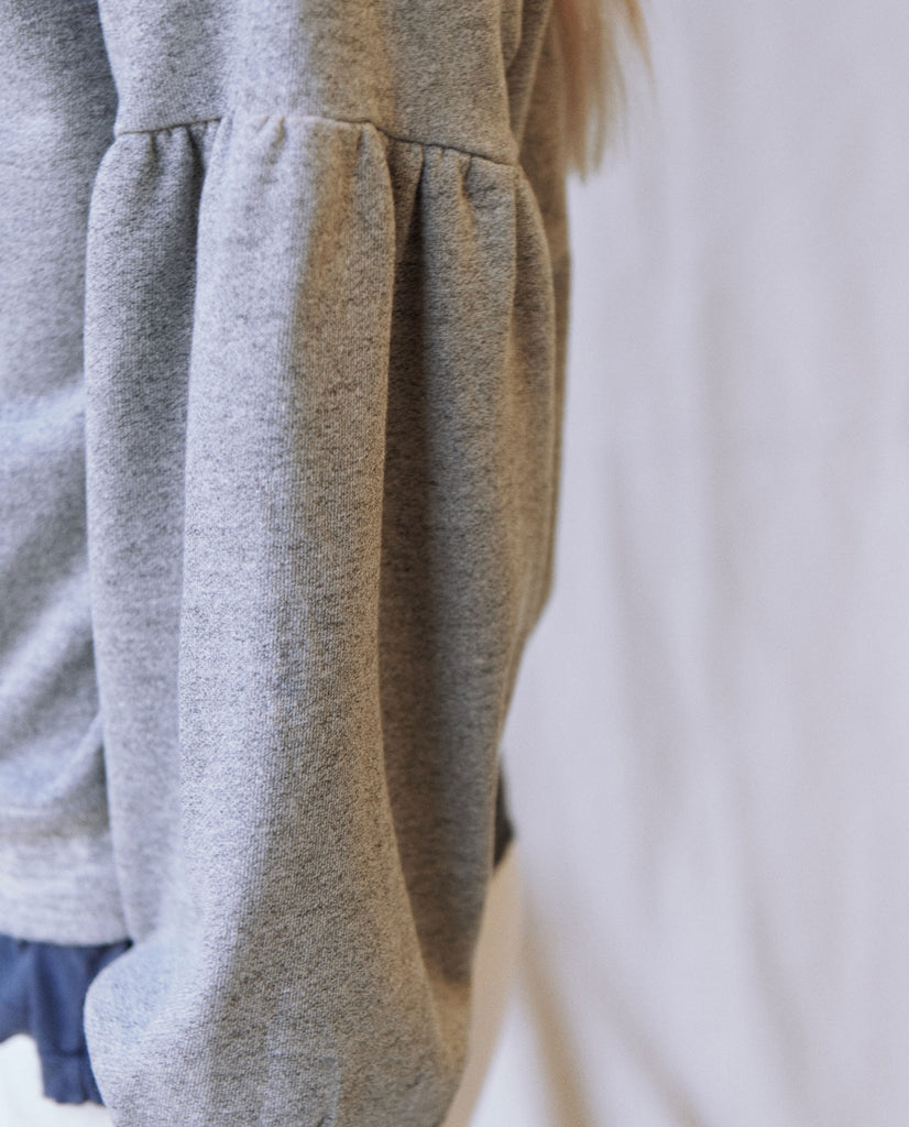 The Bishop Sleeve Sweatshirt. Solid -- VARSITY GREY