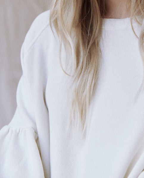 The Bishop Sleeve Sweatshirt. Solid -- Washed White