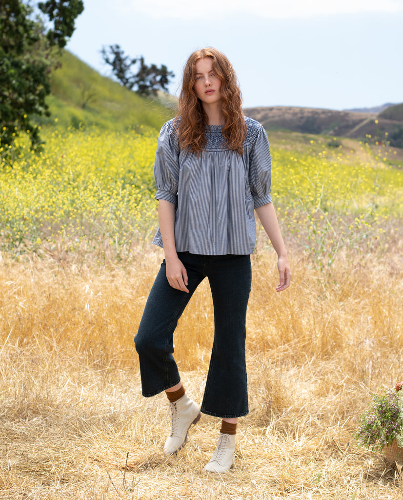 The Bloom Top. -- CHAMBRAY STRIPE
