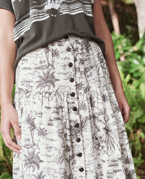 The Boating Skirt. -- BLACK PALM PRINT