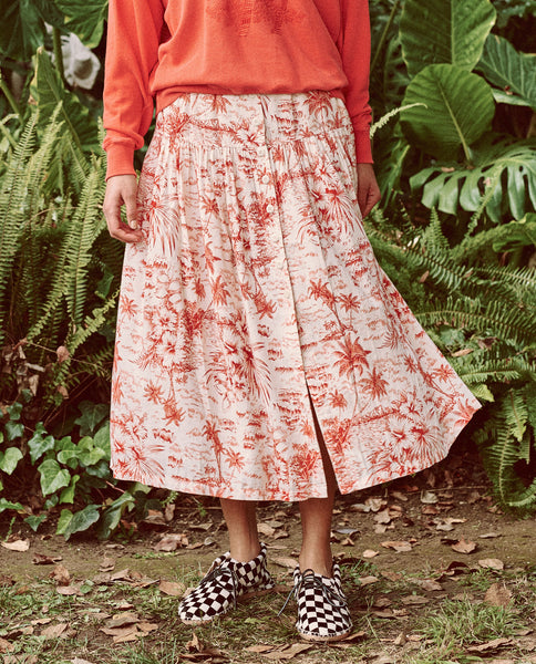 The Boating Skirt. -- RED PALM PRINT