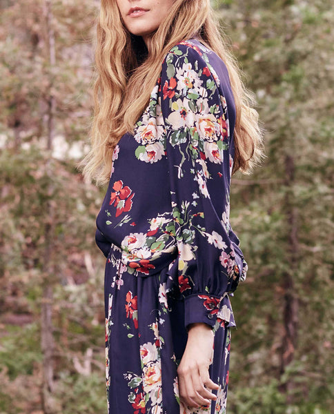 The Boudoir Button Up. -- Nightfall Floral Print