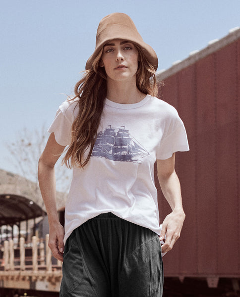 The Boxy Crew. Graphic -- TRUE WHITE WITH NAVY BOAT GRAPHIC