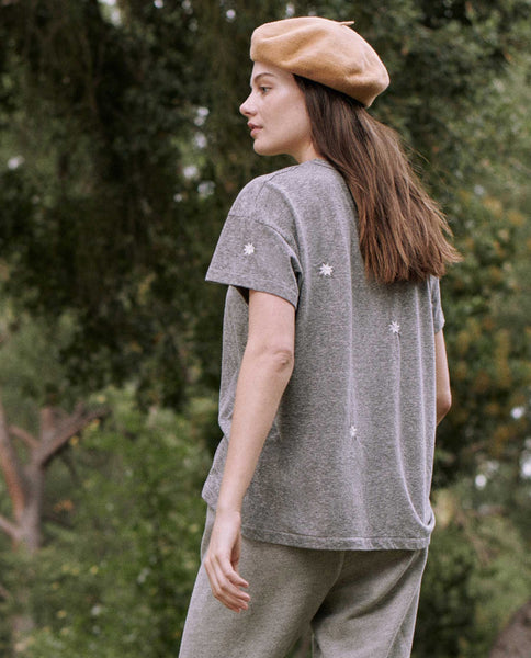 The Boxy Crew. Embroidered -- HEATHER GREY WITH BADGE EMBROIDERY