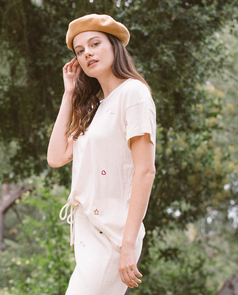 The Boxy Crew. Embroidered. -- WASHED WHITE WITH DOODLE EMBROIDERY