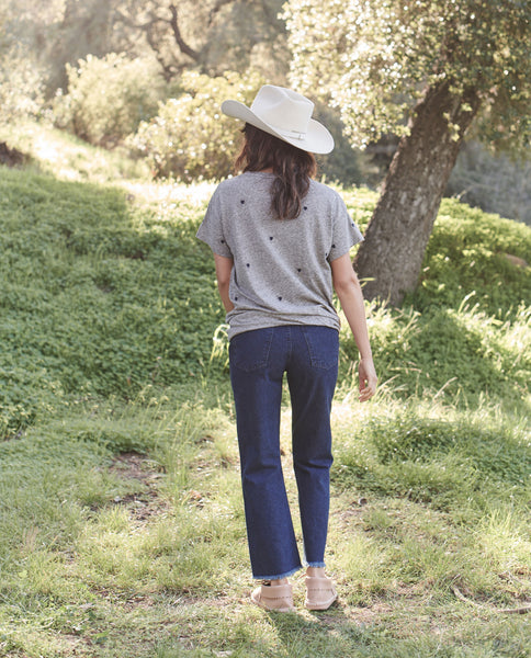 The Boxy Crew. EMBROIDERED -- HEATHER GREY WITH HEART EMBROIDERY
