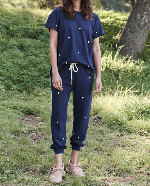 The Boxy Crew. EMBROIDERED -- NAVY WITH HEART EMBROIDERY