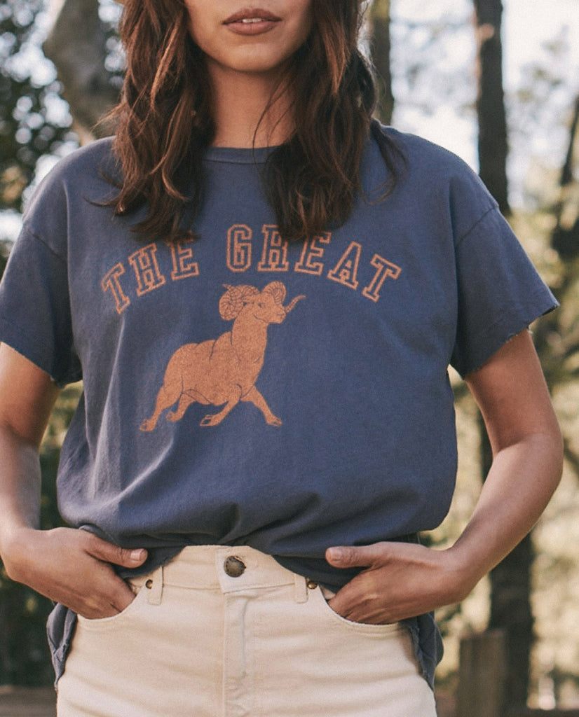 The Boxy Crew. Graphic -- WASHED NAVY with Ram Graphic