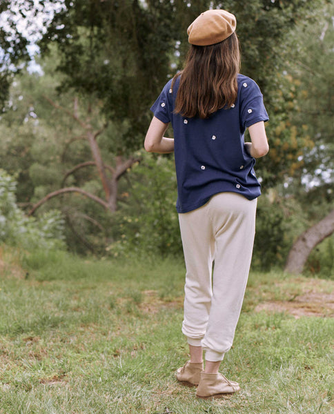 The Boxy Crew. Embroidered. -- COBALT WITH WILDFLOWER EMBROIDERY