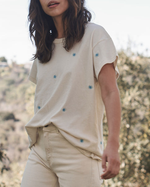 The Boxy Crew. Embroidered -- WASHED WHITE with Wishweed Embroidery