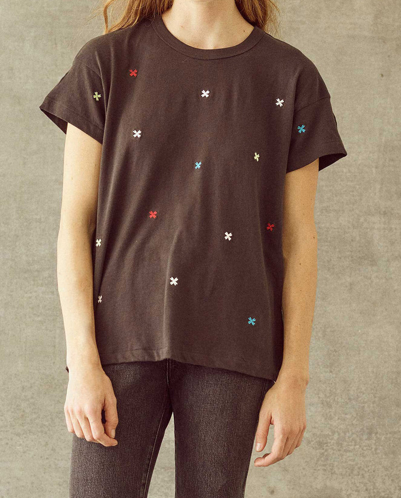 The Boxy Crew. Embroidered -- Almost Black with Multi Folk Embroidery