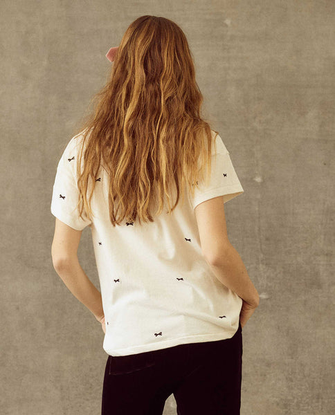 The Boxy Crew. Embroidered -- Washed White with Bow Embroidery