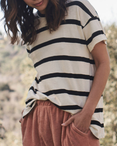 The Boxy Crew. Stripe -- CREAM STRIPE