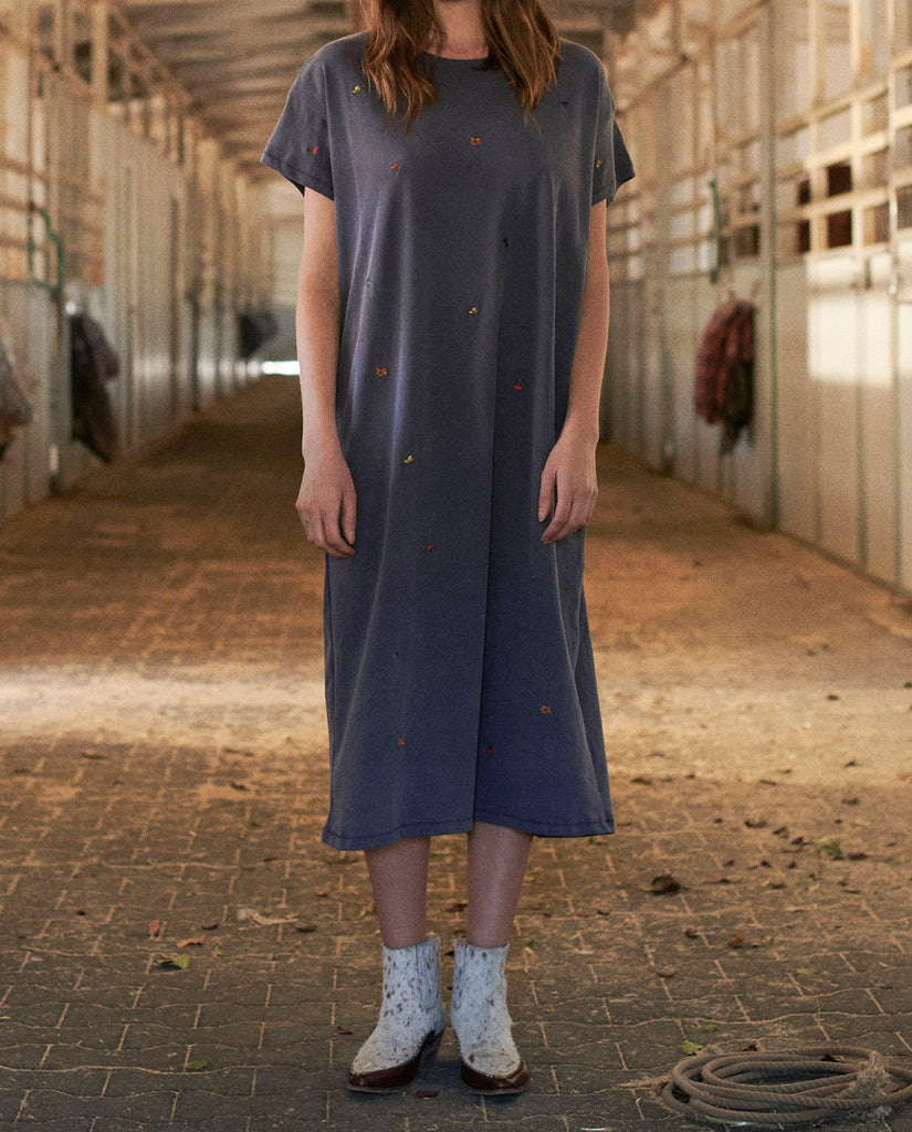 The Boxy Dress. -- WASHED NAVY with Multi Poppy Embroidery