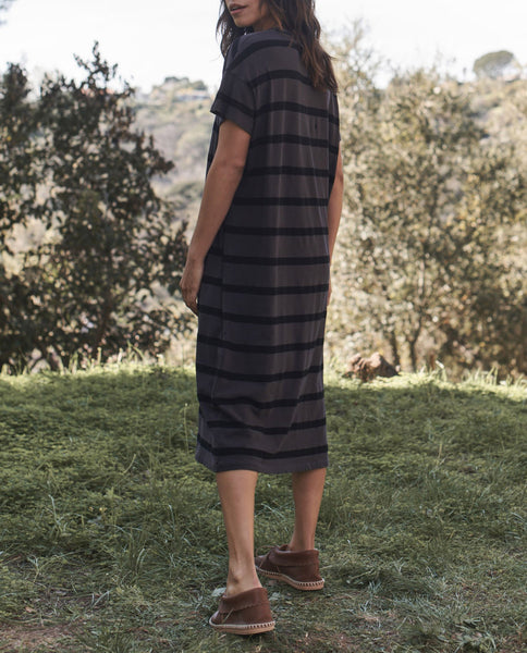 The Boxy Dress. -- CHARCOAL STRIPE