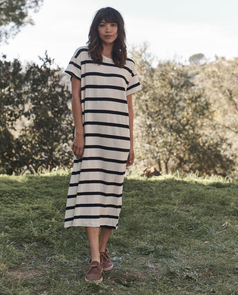 The Boxy Dress. -- CREAM STRIPE
