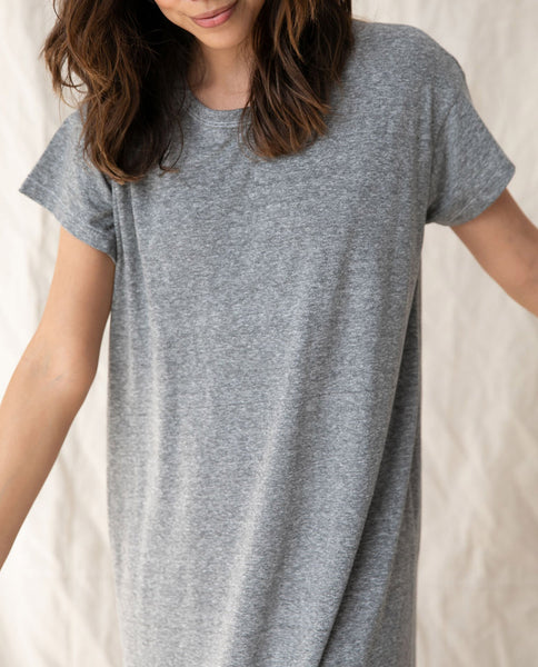 The Boxy Dress. Solid -- HEATHER GREY