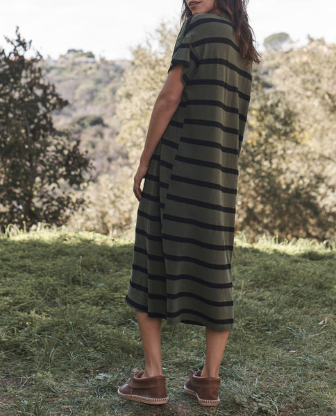 The Boxy Dress. -- OLIVE STRIPE