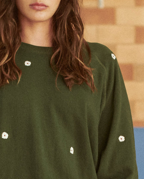 The Bubble Sweatshirt. -- CLOVER WITH WITH WILDFLOWER EMBROIDERY