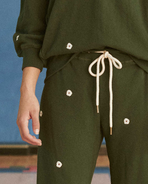 The Cropped Sweatpant. Embroidered -- CLOVER WITH WILDFLOWER EMBROIDERY