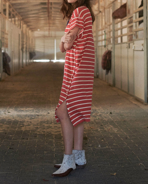 The Button Side Dress. -- CARDINAL STRIPE