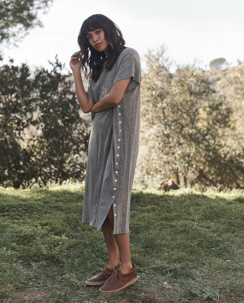 The Button Side Dress. -- HEATHER GREY