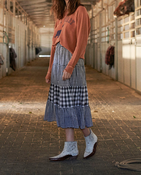 The Button Up Tier Skirt. -- BLUE BLACK CHECK MIX