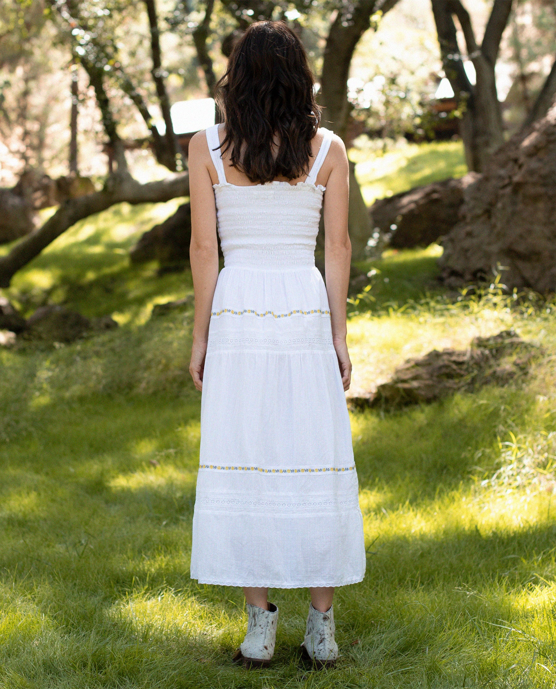 The Clover Dress. -- WHITE WITH ROSE TRIM