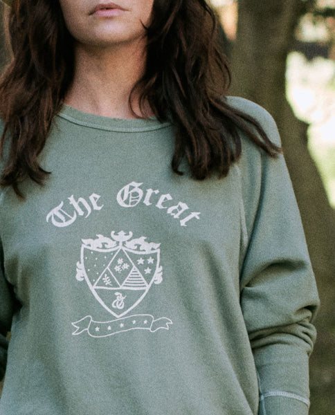 The College Sweatshirt. Graphic -- BASIL WITH CREST GRAPHIC