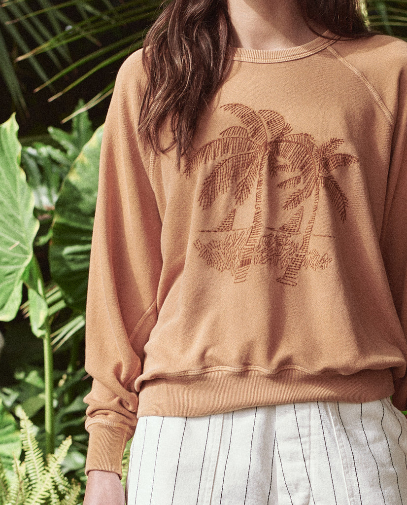 The College Sweatshirt. Embroidered -- GINGER WITH PALM EMBROIDERY