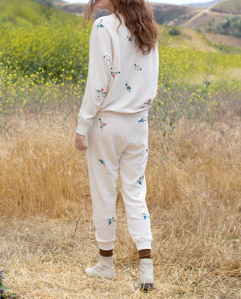 The College Sweatshirt. EMBROIDERED -- WASHED WHITE with Multi Field Floral Embroidery