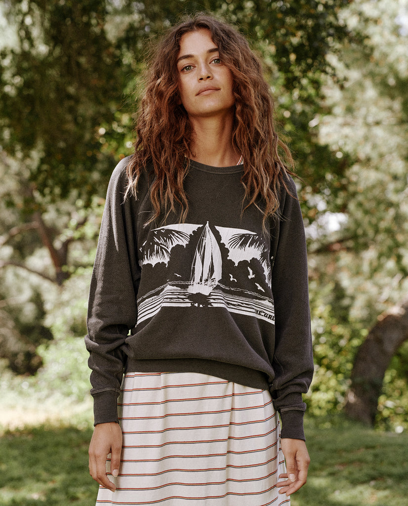 The College Sweatshirt. Graphic -- Washed Black With Paradise Graphic