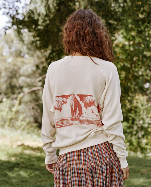 The College Sweatshirt. Graphic -- Washed White With Paradise Graphic