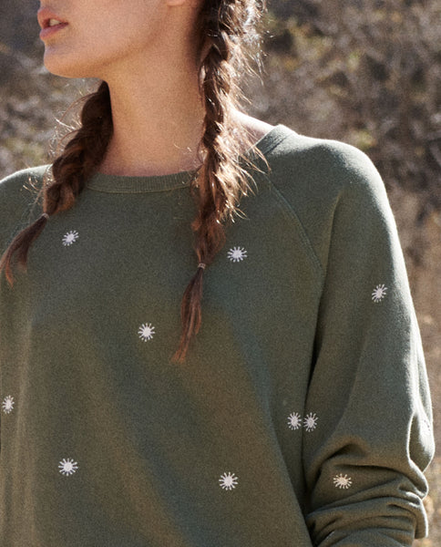 The College Sweatshirt. Embroidered -- OLIVE with Wishweed Embroidery