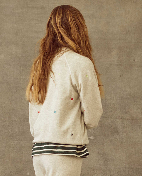 The College Sweatshirt. Embroidered -- Heather Grey With Multi Folk Embroidery