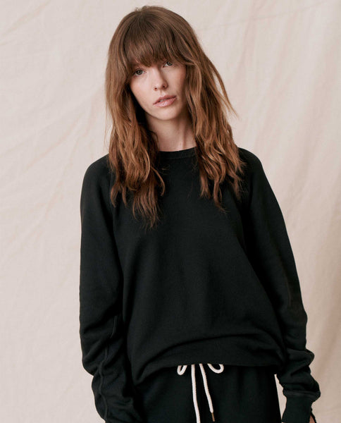 The College Sweatshirt and The Cropped Sweatpant Set. -- Almost Black