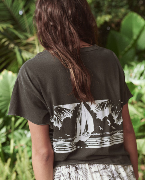 The Crop Tee. -- Washed Black With Paradise Graphic