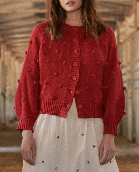 The Cropped Bobble Cardigan. -- CARDINAL