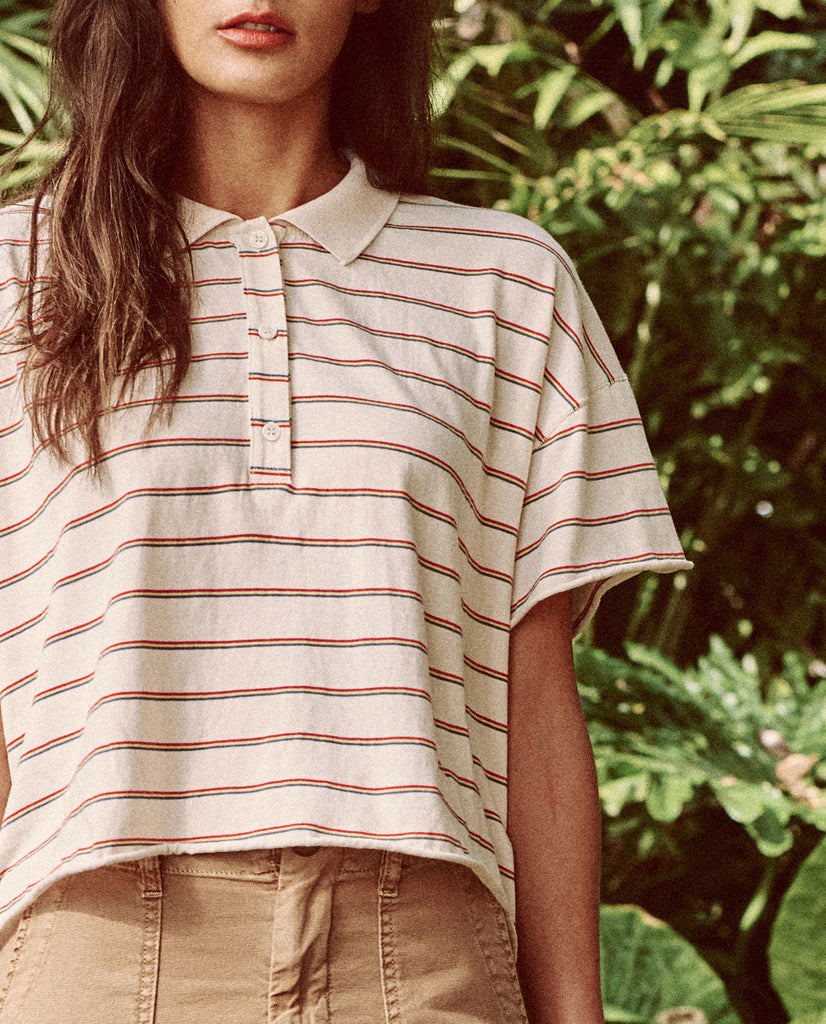 The Cropped Polo Tee. -- THE MULTI SKINNY STRIPE
