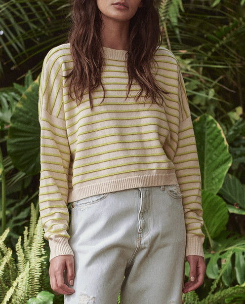 The Cropped Pullover. -- CITRON STRIPE